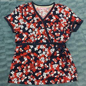 Uniform Scrub Top Koi Brand Floral Butterfly Large